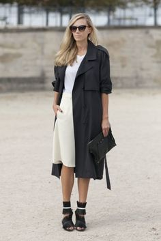 Très Chic! The Best Street Snaps at Paris Fashion Week: Boy-meets-girl perfect style.: Caroline Issa was a fashion darling in print.  : A total sophisticate in black and white.