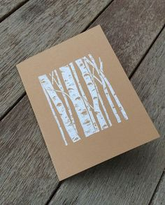 Linocut birch greeting card by Hearth and Harrow:
