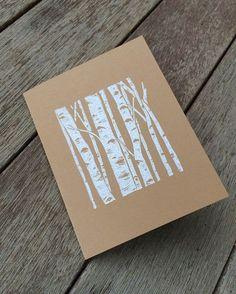 Linocut birch greeting card by Hearth and Harrow: