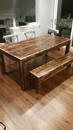 James+James 6 Foot Parsons Table With A Traditional Top, Stained In Vintage  Dark