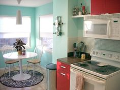 Kitchen paint color inspiration. This one is sherwin williams - aquatint #kitchen #aqua #red