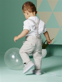 Baby Boy's Shirt & Trousers Outfit White / sand
