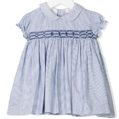 Most exquisite timeless blue and white stripy summer dress Red contrasting hand made smock and stylish puff sleeves. Adorable and elegant. Ideal for the SS17