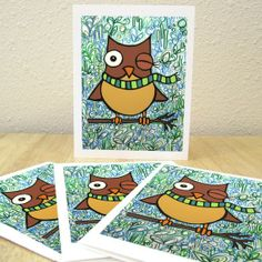 Winter Owl Holiday Cards  Set of 4 by @May Beltran :: EarthtoGirl on @Etsy , $6.00