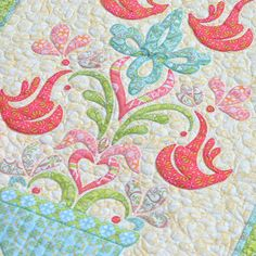 """Love Birds"" - my second new design featuring my Topiary line for Blend Fabrics and Aurifil threads.  Details on my blog…. http://amandamurphydesign.blogspot.com/2014/03/love-birds.html"
