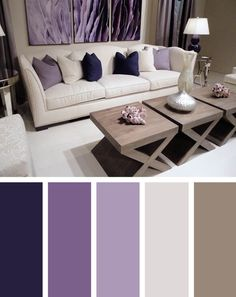 The living room color schemes to give the impression of more colorful living. Find pretty living room color scheme ideas that speak your personality. Living Room Color Combination, Good Living Room Colors, Cozy Living Rooms, Living Room Paint, New Living Room, Living Room Decor Purple, Apartment Living, Small Living, Apartment Ideas