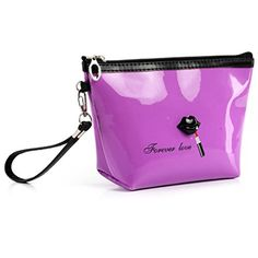 Sankuwen Kiss Portable Cosmetic Case Pouch Zip Toiletry Organizer Travel Makeup Clutch Bag S Purple * You can find more details by visiting the image link. (Note:Amazon affiliate link)
