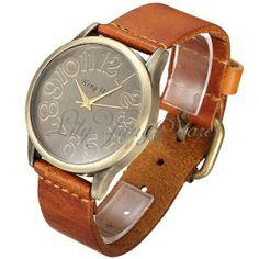 60eaf76c7c0 Reloj De Pulsera Mujer Correa Cuero Cuarzo Bronce Estilo Retro Wrist Watch