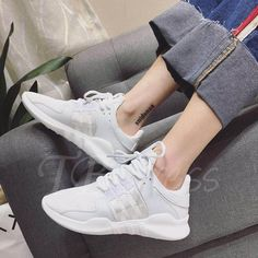 #TBDress - #TBDress Patchwork Mesh Breathable Lace-Up Plain Platform Womens Sneakers - AdoreWe.com