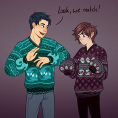 Nico is like:Percy,this sweater is like to big for me.And Percy is like:I love it dont you love it,i just love it!?!