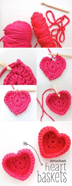 Crochet heart shaped baskets crafts, tips and diy вязаные кр Crochet Home, Knit Or Crochet, Crochet Crafts, Yarn Crafts, Crochet Projects, Cute Crafts, Diy And Crafts, Cotton Cord, Basket Crafts