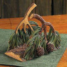 Pinecone napkin holder.