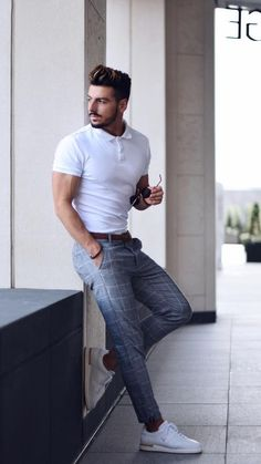 Männer mode White Polo Shirt Outfit Concepts For Males # White Polo Shirt Outfit, Polo Shirt Outfits, Polo Shirts, Polo Shirt Style, Polo Outfit, Man Outfit, Mens White Outfit, Shirts For Men, Men Shirt