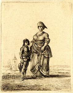 A stout woman in simple dress standing in a field with a basket on her arm, a boy beside her to left, holding his broad-brimmed hat; with a church and fields in the background. Etching printed in brownish ink