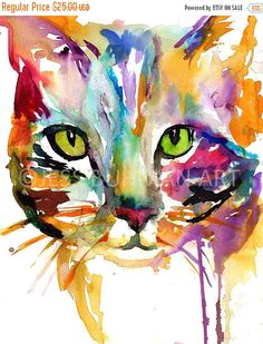 ON SALE Cat Watercolor Print Tabby Cat Painting by JessBuhmanArt
