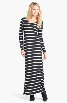 Lush Cutout Stripe Maxi Dress (Juniors) available at #Nordstrom| Would be super cozy with a mustard-colored uniscarf and boots, maybe a big cozy cardigan too...