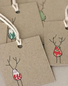 Christmas tag idea - glue fabric and then draw around it