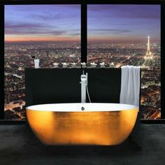i want to take a bath here. Luxury bathroom with city view - The Original contemporary bathtubs