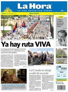 Los temas destacados son: Ya hay ruta VIVA, La Conaie se niega a salir de su sede, Se abre el pesebre de El Carmen Bajo, Hoy se reabre el Parque Cumandá