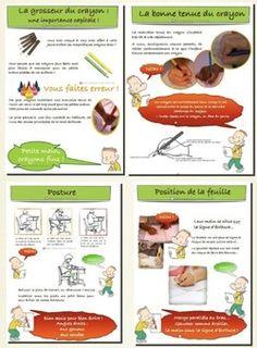Etre au clair soi-même avec : les outils qu'on met à disposition des élèves (crayons, cahier, lignages...), la tenue du crayon, la posture, la position de la feuille ou du cahier (pensez à leur faire
