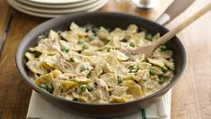 Rotisserie Chicken and Bow Tie Pasta -  Bow-tie pasta is a fun change for this creamy stovetop skillet dinner.