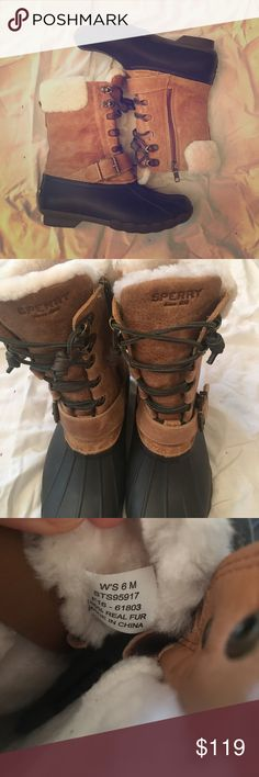 ☃️👢Women's Saltwater Misty Shearling Duck Boot Soooo these are awesome! My foot is sadly too wide for them 😩😩😩 They are a size 6 but if your foot is wide, they may be too small. They are fur-lined for warmth and zip at the sides. The bottom is rubber to keep your piggies warm and dry! Enjoy! Sperry Shoes Winter & Rain Boots
