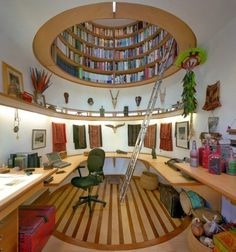Ceiling bookcase.