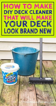This is a great tutorial for how to make deck cleaner using oxygen bleach. This easy deck cleaning solution really makes my old wood deck look brand new again! It works great for siding, composite decks and outdoor furniture, too! Deep Cleaning Tips, House Cleaning Tips, Cleaning Solutions, Spring Cleaning, Cleaning Hacks, Cleaning Supplies, Cleaning Products, Weekly Cleaning, Cleaning Checklist