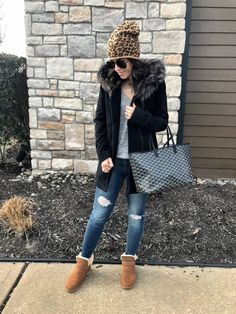 Cozy Winter necessities   Faux fur trimmed coat outfit