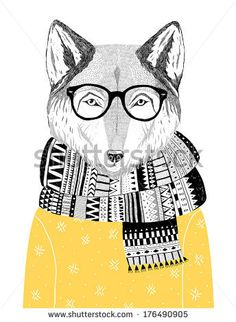 hand drawn wolf portrait in hipster glasses, scarf and sweater, winter look. Vector illustration  by lenaer, via Shutterstock