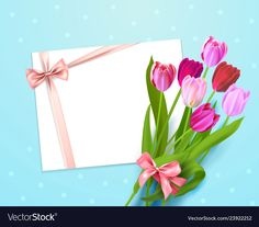 Floral background with bouquet of tulips top view Vector Image 1 Clipart, Illustrations, Spring Flowers, Background Images, Tulips, Holiday Cards, Vector Free, Graphic Design, Wall Art
