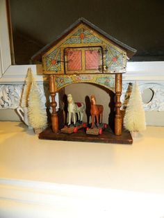 Antique Victorian Lithograph R BLISS Dollhouse STABLE with Horse Toys on Wheels #BLISS