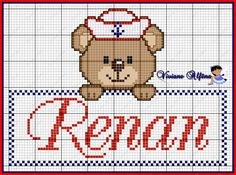 Cross Stitch Baby, Cross Stitch Patterns, Baby Patterns, Crochet Patterns, Mermaid Coloring Pages, Teddy Bear, Embroidery, Cards, Animals