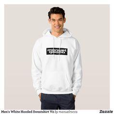 Men's White Hooded Sweatshirt V2 - Stylish Comfortable And Warm Hooded Sweatshirts By Talented Fashion & Graphic Designers - #sweatshirts #hoodies #mensfashion #apparel #shopping #bargain #sale #outfit #stylish #cool #graphicdesign #trendy #fashion #design #fashiondesign #designer #fashiondesigner #style