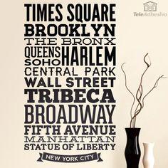 Wandtattoos Typografische Straßen von New York