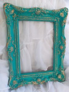 LARGE  Bohemian Chic Boho Rococo Frame French Blue and Gold Vintage