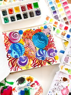 Sea horse abstract watercolor on khadi paper Abstract Watercolor, Watercolour Painting, Horses, Sea, Paper, Cards, The Ocean, Ocean, Maps
