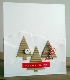 eenvoudige kerstkaart Christmas Tree Cards, Xmas Cards, Christmas Projects, Holiday Crafts, Cute Birthday Cards, Merry Xmas, Christmas Inspiration, Homemade Cards, Making Ideas