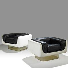 1970s Lounge Chairs   Steelcase Furniture Co.Gel-coated Fiberglass, Acrylic, Leather   USA Via