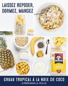 Commencez la journée avec un déjeuner délicieux et nourrissant, grâce à quelques étapes effectuées la veille. Savourez la fraîcheur de la noix de coco, de la mangue et de l'ananas dans chaque bouchée.   Plus de recettes et d'astuces à gruauapreparerlaveille.ca.