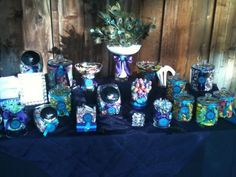 peacock themed candy tables  | Candy Buffet with Peacock Feathers theme : wedding blue faulkner ...