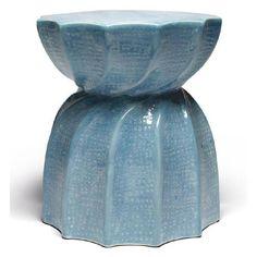 Bea Ceramic Stool-Light Blue - Seating - Global Home