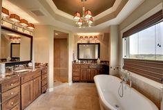 Craftsman Master Bathroom with Undermount sink, Square Recessed Panel - Veneer (AC2A) Door Style by KraftMaid, High ceiling
