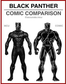 • BLACK PANTHER - COMIC COMPARISON•  I love the mcu suit of the black panther so much. It looks accu - accurate.mcu