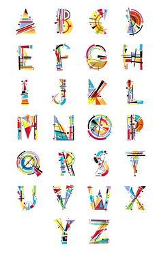 Alphabet Kandinsky by Tano Veron Typography Served, Typography Letters, Graphic Design Typography, Lettering Design, Hand Lettering, Typography Drawing, Calligraphy Letters, Alphabet Design, Alphabet Art