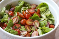 """Picture from: makebetterfood Image Credit: Kevin Marinated Cherry Tomato Salad """"Simple vinaigrette dressing coats a generous h. Cherry Tomato Salad, Tomato Salad Recipes, Cherry Tomatoes, Soup Recipes, Dinner Recipes, Healthy Salads, Healthy Eating, Healthy Recipes, Wedding Buffet Menu"""