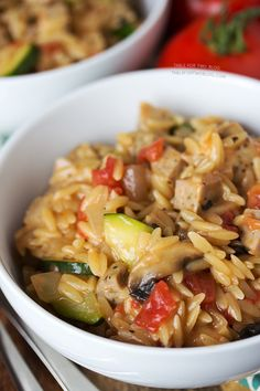 Creamy Orzo with Chicken Sausage