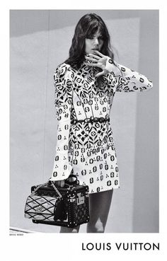 Louis Vuitton F/W 2015 Campaign // Freja Beha Erichsen with a print dress, quilted bag & trunk bag #style #fashion