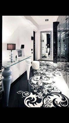 Tidy black and white closet