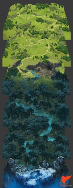 The overworld concept was a pitched project of mine, testing out the idea of a pseudo scroll rotation map by utilizing plates lined up with one another. Fantasy Forest, Fantasy Map, World Map Game, Map Symbols, Rpg Map, Map Design, Environment Design, Cartography, Landscape Art